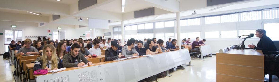 Students attending a class